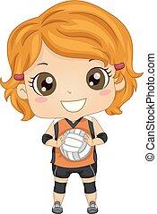Kid Girl Volleyball Illustration