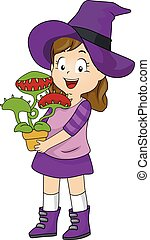 Kid Girl Witch Costume Venus Fly Trap