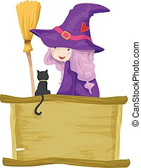Kid Girl Witch Familiar Spirit Cat Board
