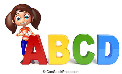 kid girl with ABCD sign