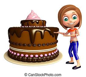 kid girl with Cake