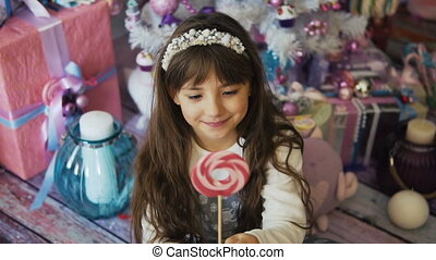 Kid Girl with Candy
