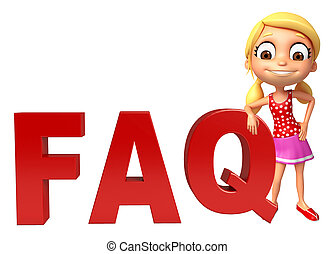 kid girl with FAQ sign