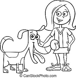 kid girl with funny dog cartoon coloring book