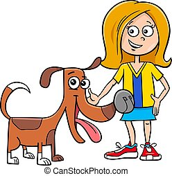 kid girl with funny dog cartoon illustration
