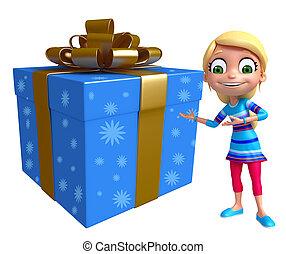 kid girl with Gift box