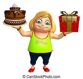 kid girl with Giftbox & Cake