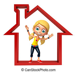 Kid girl with Home sign