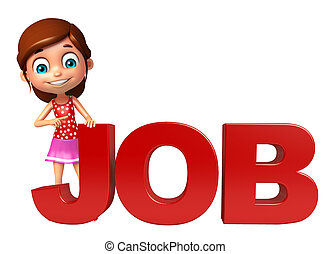 kid girl with Job sign