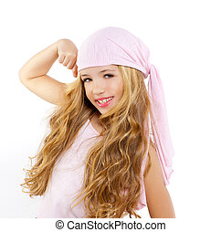 kid girl with pirate handkerchief showing her biceps