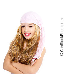 kid girl with pirate handkerchief beautiful portrait