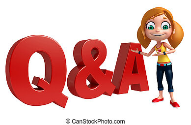 kid girl with Q&A sign