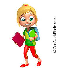kid girl with School bag and Book