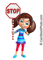 kid girl with Stop sign