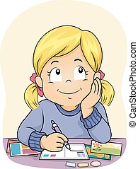 Kid Girl Write Postcards