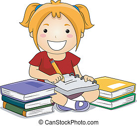 Kid Girl Writing - Illustration of Kid Girl Writing notes...