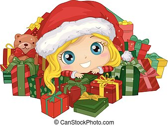 Kid Girl Xmas Gifts Illustration