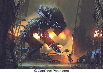 kid giving umbrella to giant robot in the rainy night, ...