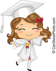Kid Graduate - Illustration of a Kid Wearing Graduation...