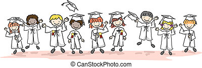 Kid Graduates - Illustration of Kids Wearing Caps and Gowns
