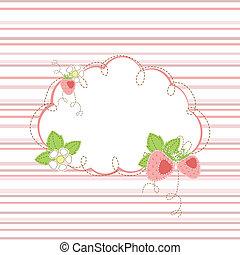 kid greeting card with strawberry - kid girl stripe...