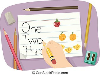 Kid Hand Practice Number Words Illustration