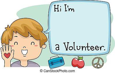 Kid Happy Boy Proud Volunteer