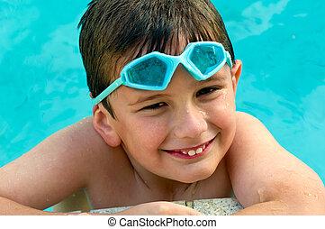 Kid happy in summertime