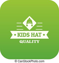Kid hat icon green vector isolated on white background