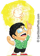 Kid Having a Light Bulb Idea - A vector image of a kid...