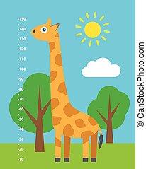 Kid height. Cartoon illustration.