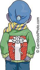 Kid Hide Gift Back View Illustration