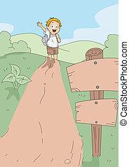 Kid Hiking - Illustration of a Kid Hiking