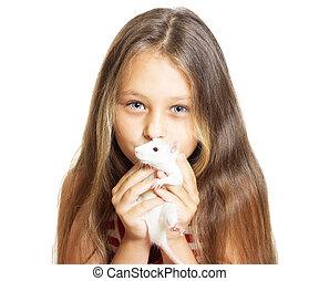 kid holding a pet rat