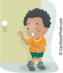 Kid Holding His Pee - Illustration of a Kid Holding His Pee