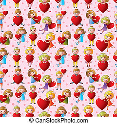 kid hug heart seamless pattern