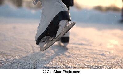 Kid Ice Skating on Frozen Lake