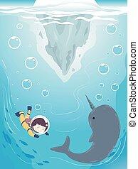 Kid Iceberg Underwater Narwhal