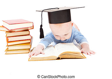 kid in a hat of the bachelor and the book. Concept of early education
