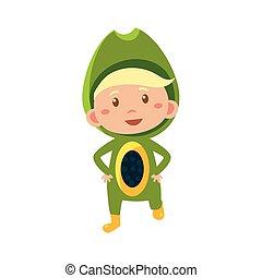Kid In Avocado Costume. Vector Illustration