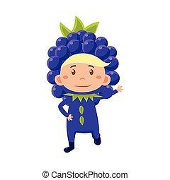 Kid In Blackberry Costume. Vector Illustration