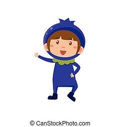 Kid In Blueberry Costume. Vector Illustration