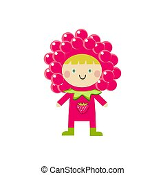 Kid in carnival clothes , cute little boy or girl wearing raspberry costume. Illustration