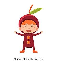 Kid In Cherry Costume. Vector Illustration