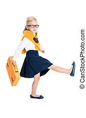 kid in eyeglasses with briefcase