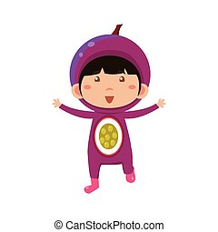 Kid In Fruit Costume. Vector Illustration