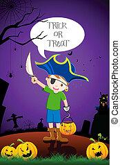 Kid in Halloween Costume - illustration of kid in costume of...