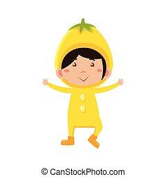 Kid In Lemon Costume. Vector Illustration