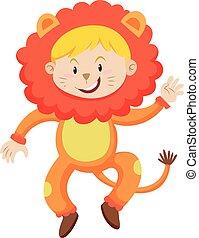 Kid in lion costume
