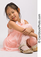 Kid in Pink Dress, Isolated on White
